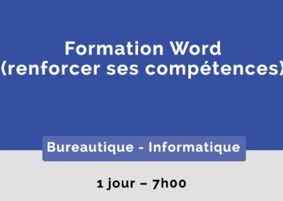 Formation Word – Renforcer ses compétences